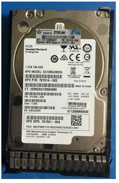HPE 781581-004 1.2TB 10000RPM 2.5inch SFF Digitally Signed Firmware SAS-12Gbps SC Enterprise Hard Drive for ProLiant Gen9 Gen10 Servers (Grade A with Lifetime Warranty)