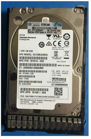 HPE EG001200JWFVA-SC 1.2TB 10000RPM 2.5inch SFF Digitally Signed Firmware SAS-12Gbps SC Enterprise Hard Drive for ProLiant Gen9 Gen10 Servers (Grade A with Lifetime Warranty)