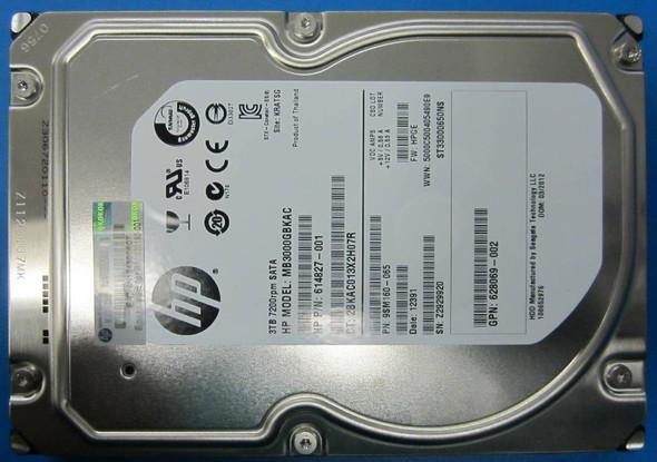 HPE 614827-001 3TB 7200RPM 3.5inch LFF SATA-6Gbps Midline Hard Drive for ProLiant Gen8 Gen9 Gen10 Servers (New Bulk pack with 1 Year Warranty)