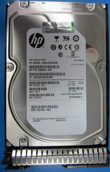 HPE MB2000GCWDA-SC 2TB 7200RPM 3.5inch LFF SATA-6Gbps Smart Carrier Midline Hard Drive for ProLiant Gen8 Gen9 Gen10 Servers (New Bulk Pack with 1 Year Warranty)