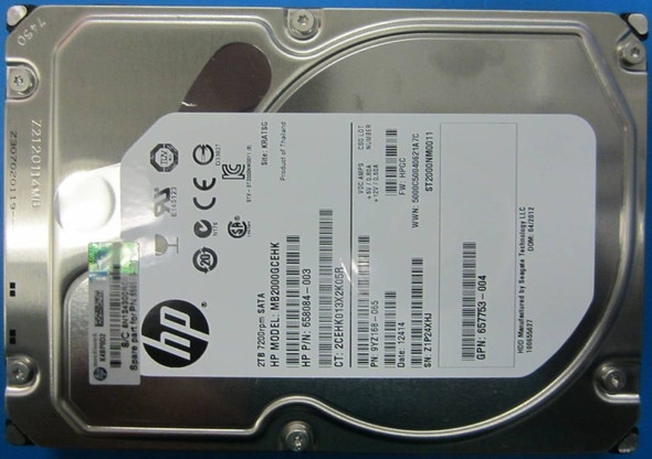 HPE MB2000GDUNV 2TB 7200 RPM 3.5 inch LFF SATA-6Gbps Non Hot-Swap Midline Internal Hard Drive For ProLiant Gen8 Gen9 Servers (New Bulk Pack with 1 Year Warranty)