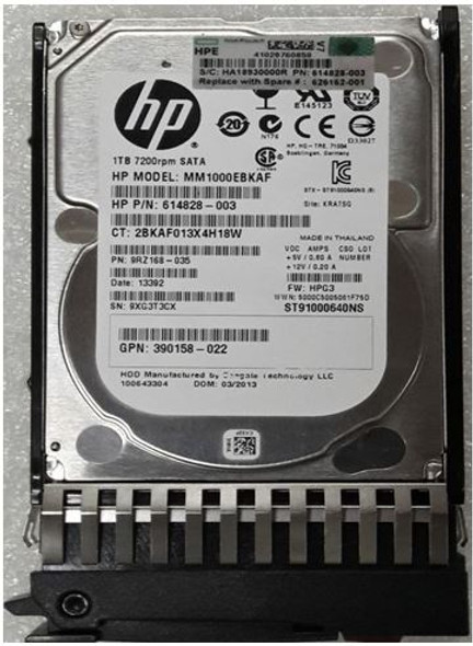 HPE 614828-003 1TB 7200RPM 2.5inch SFF SATA-3Gbps Midline Hard Drive for ProLiant Gen1 to Gen7 Servers and Storage Arrays (New Bulk Pack with 1 Year Warranty)