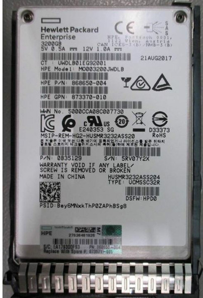 HPE 873367-K21 3.2TB 2.5inch SFF MLC Digitally Signed Firmware SAS-12Gbps SC Mixed Use Solid State Drive for ProLiant Gen9 Gen10 Servers (New Bulk Pack with 1 Year Warranty)