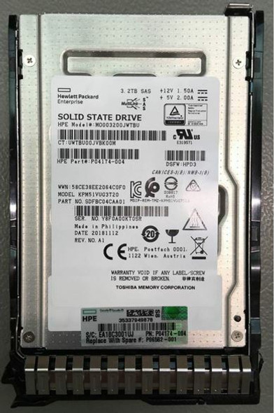 HPE MO003200JWTBU-SC 3.2TB 2.5inch SFF MLC Digitally Signed Firmware SAS-12Gbps Smart Carrier Mixed Use Solid State Drive for ProLiant Gen9 Gen10 Servers (New Bulk Pack with 1 Year Warranty)