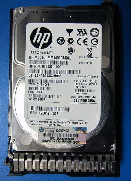 HPE 614829-003-SC 1TB 7200RPM 2.5inch SFF Digitally Signed Firmware SATA-6Gbps Smart Carrier Midline Hard Drive for ProLiant Gen8 Gen9 Gen10 Servers (New Bulk Pack with 1 Year Warranty)