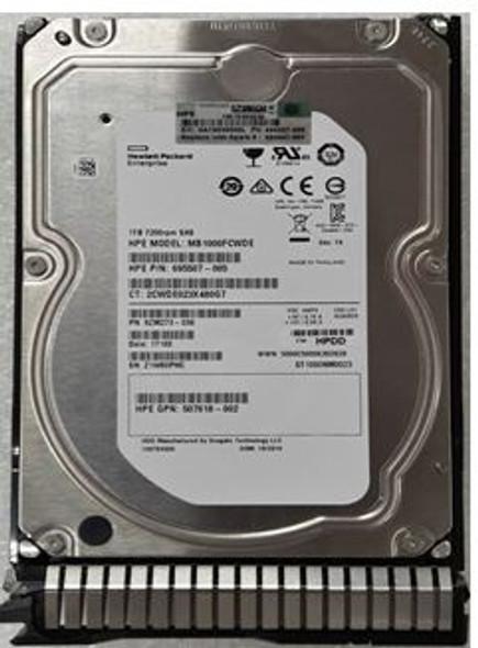 HPE 695507-001-SC 1TB 7200RPM 3.5inch LFF SAS-6Gbps Smart Carrier Enterprise Hard Drive for ProLiant Gen8 Gen9 Server (Brand New with 3 Years Warranty)