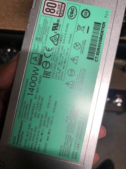 HPE 733428-101 1400Watt Flex Slot Platinum Plus Hot Plug High Efficiency Power Supply Kit ProLiant Generation9 Servers (Clean Pull with 90 Days Warranty)