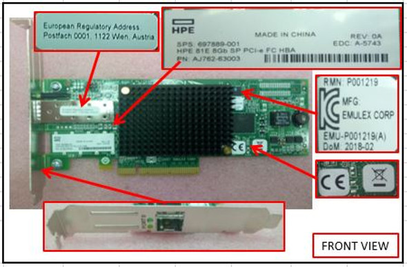 HPE 81E 697889-001 8Gb Single Port PCI-Express X8 Fibre Channel (Short Wave) Host Bus Adapter for StorageWorks and ProLiant Servers (New Bulk Pack with 1 Year Warranty)