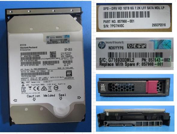 HPE Helium 857650-B21 10TB 7200RPM 3.5inch LFF Digitally Signed Firmware SATA-6Gbps LPC Midline Hard Drive for Apollo Gen9 ProLaint Gen10 Servers (New Bulk with 1 Year Warranty)