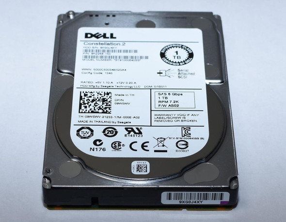 Dell 9W5WV 1TB 7200RPM 2.5inch 64MB Buffer Large Form Factor(LFF) SAS-6Gbps Hot-Swap Nearline Hard Drive for Poweredge and Powervault Servers