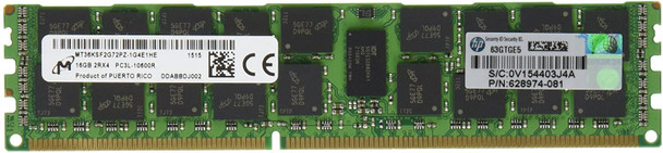 HPE 627812-B21 16GB (1x16GB) Dual Rank x4 PC3L-10600 DDR3-1333 240-Pin ECC Registered CL9 (CAS-9-9-9) SDRAM LP (Low Power) Memory Kit for ProLiant Gen6 Gen7 Servers (New Bulk Pack with 1 Year Warranty)