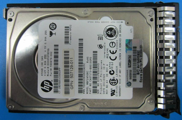 HPE 641552-002-SC 450GB 10000RPM 2.5inch SFF Dual Port SAS-6Gbps Smart Carrier Enterprise Hard Drive for ProLiant Generation8 Generation9 Servers (New Bulk Pack with 1 Year Warranty)