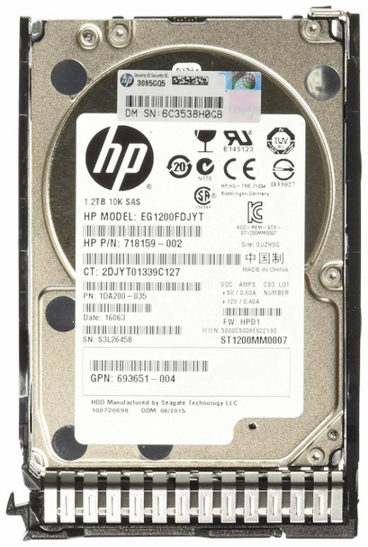 HPE 718292-001 1.2TB 10000RPM 2.5inch SFF Dual Port SAS-6Gbps SC Enterprise Hard Drive for ProLaint Gen8 Gen9 Gen10 Servers (Brand New with 3 Years Warranty)