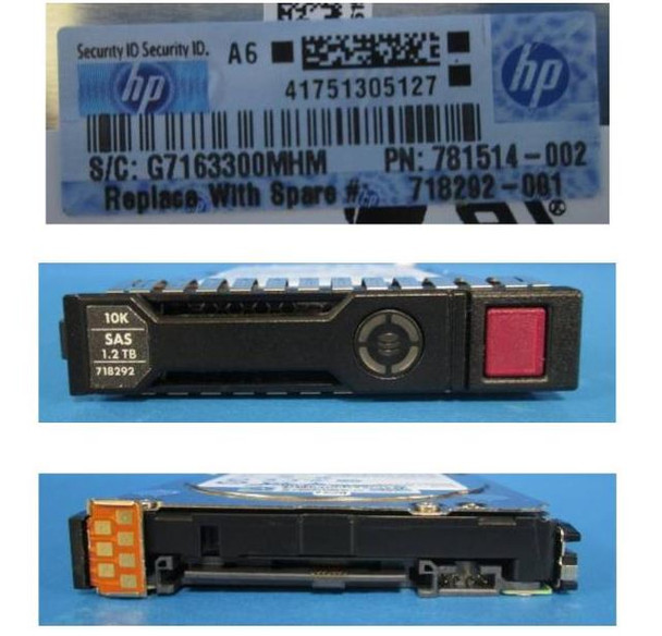 HPE 718292-001 1.2TB 10000RPM 2.5inch SFF Dual Port SAS-6Gbps SC Enterprise Hard Drive for ProLiant Gen8 Gen9 Gen10 Servers (Brand New with 3 Years Warranty)