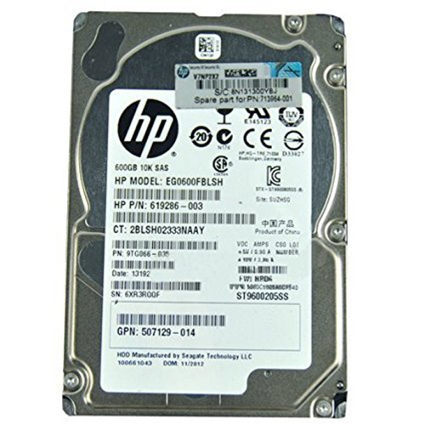 HPE 599476-003 600GB 10000RPM 2.5inch Small Form Factor Dual Port SAS-6Gbps Hot-Swap Enterprise Hard Drive for ProLiant Generation1 to Generation7 Servers (90 Days Warranty)
