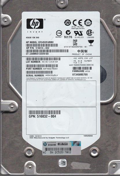 HPE 516810-002 450GB 15000RPM 3.5inch LFF Dual Port SAS-6Gbps Hot-Swap Enterprise Hard Drive for ProLiant Gen5 Gen6 Gen7 Servers (90 Days Warranty)