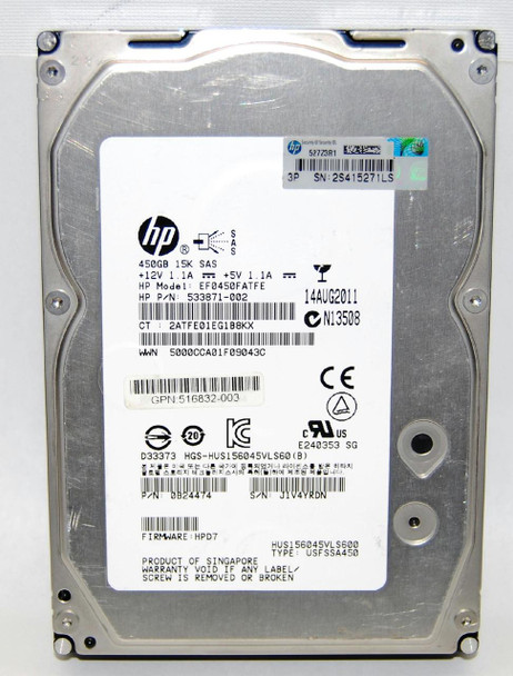 HPE 516810-002 450GB 15000RPM 3.5inch LFF Dual Port SAS-6Gbps Hot-Swap Enterprise Hard Drive for ProLiant Gen5 Gen6 and Gen7 Servers (Lifetime Warranty)