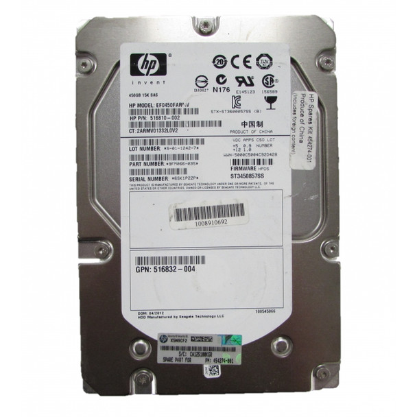 HPE 516832-004 450GB 15000RPM 3.5inch LFF Dual Port SAS-6Gbps Hot-Swap Enterprise Hard Drive for ProLiant Gen5 Gen6 and Gen7 Servers (Lifetime Warranty)