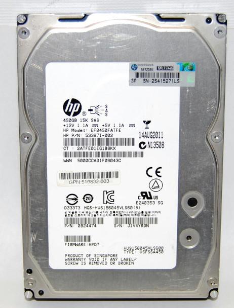 HPE 533871-002 450GB 15000RPM 3.5inch LFF Dual Port SAS-6Gbps Hot-Swap Enterprise Hard Drive for ProLiant Gen5 Gen6 and Gen7 Servers (Grade A with Lifetime Warranty)