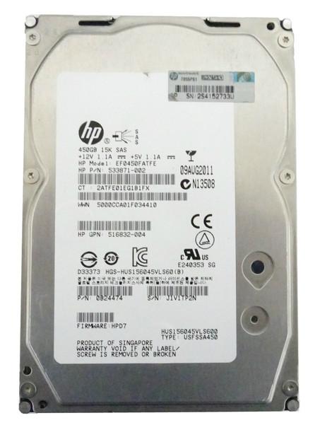 HPE 533871-002 450GB 15000RPM 3.5inch LFF Dual Port SAS-6Gbps Hot-Swap Enterprise Hard Drive for ProLiant Gen5 Gen6 Gen7 Servers (90 Days Warranty)