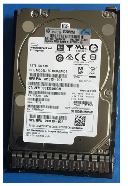 HPE 872481-B21 1.8TB 10000RPM 2.5inch SFF Digitally Signed Firmware SAS-12Gbps SC Enterprise Hard Drive for ProLiant Gen9 Gen10 Servers (Brand New with 3 Years Warranty)