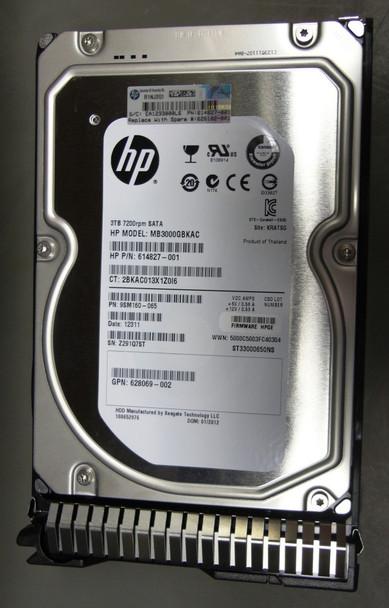 HPE 614827-001-SC 3TB 7200RPM 3.5inch LFF SATA-6Gbps Smart Carrier Midline Hard Drive for ProLiant Gen8 Gen9 Gen10 Servers (Grade A Clean with Lifetime warranty)
