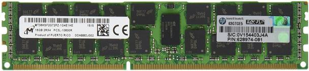 HPE 628974-081 16GB (1x16GB) Dual Rank x4 PC3L-10600 DDR3-1333 240-Pin ECC Registered CL9 (CAS-9-9-9) SDRAM LP (Low Power) Memory Kit for ProLiant Gen6 Gen7 Servers (New Bulk Pack with 1 Year Warranty)