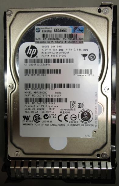 HPE 599476-003-SC 600GB 10000RPM 2.5inch Small Form Factor Dual Port SAS-6Gbps Smart Carrier Hot-Swap Enterprise Hard Drive for ProLiant Gen8 Gen9 Gen10 Servers (90 Days Warranty)