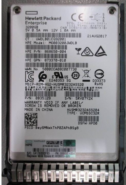 HPE 873370-010 3.2TB 2.5inch SFF MLC Digitally Signed Firmware SAS-12Gbps SC Mixed Use Solid State Drive for ProLiant Gen9 Gen10 Servers (Brand New with 3 Years Warranty)