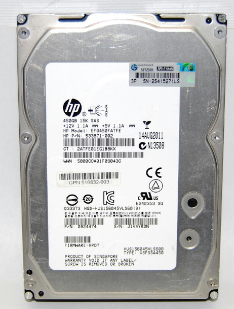 HPE EF0450FATFE 450GB 15000RPM 3.5inch Large Form Factor Dual Port SAS-6Gbps Hot-Swap Enterprise Hard Drive for ProLiant Generation5 Generation6 and Generation7 Servers