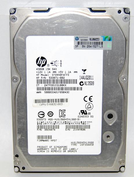 HPE 516832-003 450GB 15000RPM 3.5inch LFF Dual Port SAS-6Gbps Hot-Swap Enterprise Hard Drive for ProLiant Gen5 Gen6 Gen7 Servers (90 Days Warranty)