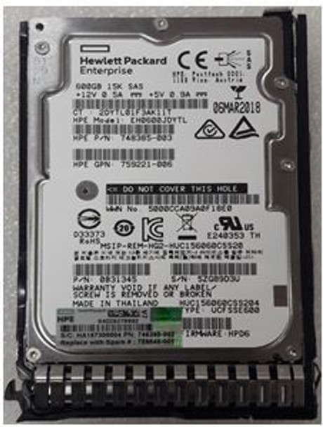 HPE 759202-003-SC 600GB 15000RPM 2.5inch SFF SAS-12Gbps Smart Carrier Hot-Swap Enterprise Hard Drive for ProLiant Gen8 Gen9 Gen10 Servers (Brand New with 3 Years Warranty)