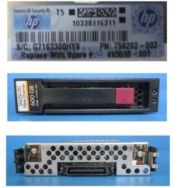 HPE 495808-001 600GB 15000RPM 2.5inch form factor Dual Port 2/4Gbps Fibre Channel-AL Hard Drive for StorageWorks M6412A Enclosures and EVA 4400/6400/8400 (Grade A with Lifetime Warranty)