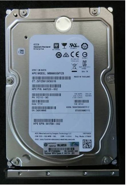 HPE 862134-001 6TB 7200RPM 3.5inch LFF 512e Digitally Signed Firmware SATA-6Gbps Low Profile Carrier Midline Hard Drive for ProLiant Gen9 Gen10 Servers (Brand New with 3 Years Warranty)