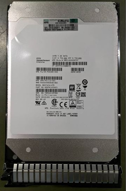 HPE Helium MB014000GWTFF-SC 14TB 7200RPM 3.5inch LFF 512e Digitally Signed Firmware SATA-6Gbps Smart Carrier Midline Hard Drive for ProLaint Gen10 Servers (New Bulk with 1 Year Warranty)
