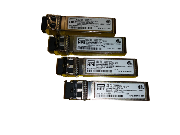 HPE 720999-002 16Gbps Short Wave (Short Range) Fibre Channel SFF Pluggable SFP+ 4-Pack Transceiver Module for Modular Smart Array 1040/2040 SAN Storage (Brand New with 3 Years Warranty)