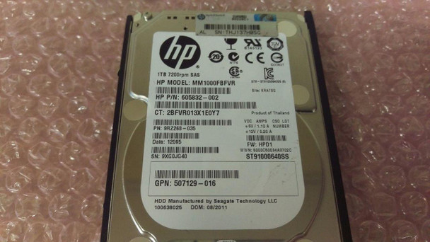 HPE 606020-001 1TB 7200RPM 2.5inch SFF Dual Port SAS-6Gbps Midline Hard Drive for ProLiant Gen1 to Gen7 Servers (Grade A - Refurbished with Lifetime Warranty)