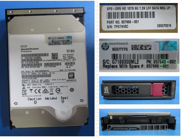 HPE Helium 857650-K21 10TB 7200RPM 3.5inch LFF Digitally Signed Firmware SATA-6Gbps LPC Midline Hard Drive for Apollo Gen9 ProLiant Gen10 Servers (New Bulk Pack With 1 Year Warranty)