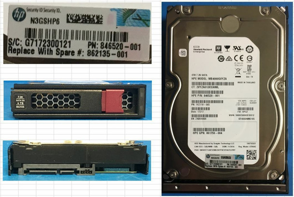 HPE 861744-K21 4TB 7200RPM 3.5inch LFF Digitally Signed Firmware 512e SATA-6Gbps Low Profile Midline Hard Drive for ProLiant Gen10 Servers (New Bulk Pack With 1 Year Warranty)