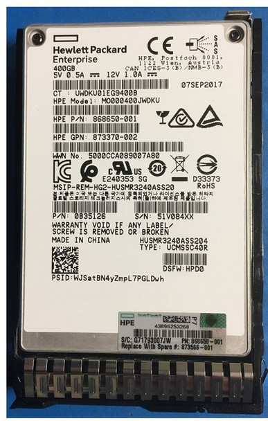 HPE 873566-001 400GB 2.5inch SFF Digitally Signed Firmware MLC SAS-12Gbps Smart Carrier Mixed Use Solid State Drive for ProLiant Gen9 Gen10 Servers (Brand New with 3 Years Warranty)