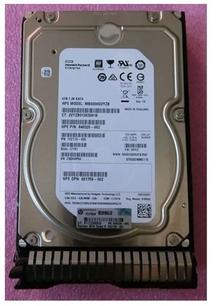 HPE 861750-B21 6TB 3.5inch LFF 7200RPM 512e Digitally Signed Firmware SATA-6Gbps SC Midline Hard Drive for ProLaint Gen9 Gen10 Servers (Brand New with 3 Years Warranty)