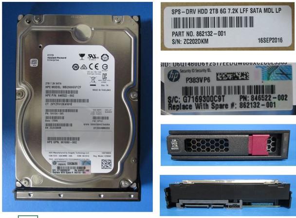 HPE 861681-K21 2TB 7200RPM 3.5inch LFF Digitally Signed Firmware SATA-6Gbps Low Profile Midline Hard Drive for ProLiant Gen8 Gen9 Gen10 Servers (Brand New with 3 Years Warranty)