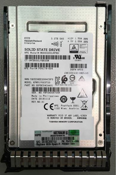 HPE P04174-004-SC 3.2TB 2.5inch SFF MLC Digitally Signed Firmware SAS-12Gbps Smart Carrier Mixed Use Solid State Drive for ProLiant Gen9 Gen10 Servers (Brand New with 3 Years Warranty)