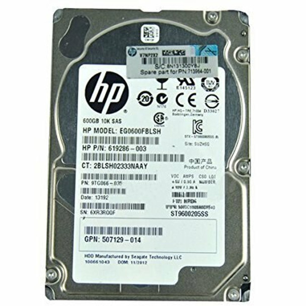 HPE 666355-003 600GB 10000RPM 2.5inch Small Form Factor Dual Port SAS-6Gbps Hot-Swap Enterprise Hard Drive for ProLiant Generation1 to Generation7 Servers