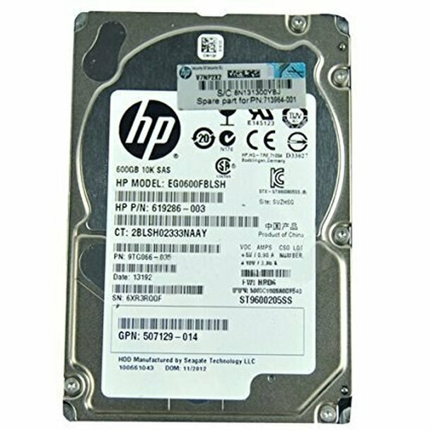 HPE 507129-014 600GB 10000RPM 2.5inch Small Form Factor Dual Port SAS-6Gbps Hot-Swap Enterprise Hard Drive for ProLiant Generation1 to Generation7 Servers (90 Days Warranty)