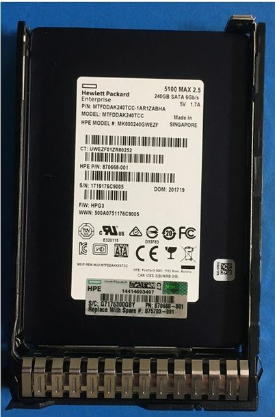 HPE 875483-X21 240GB 2.5inch SFF TLC Digitally Signed Firmware SATA-6Gbps SC Mixed Use Solid State Drive for ProLiant Gen9 Gen10 Server (Brand New with 3 Years Warranty)