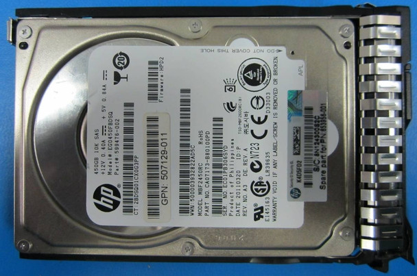 HPE 507129-011 450GB 10000RPM 2.5inch SFF Dual Port SAS-6Gbps Smart Carrier Enterprise Hard Drive for ProLiant Gen8 Gen9 Servers (New Bulk Pack with 1 Year Warranty)