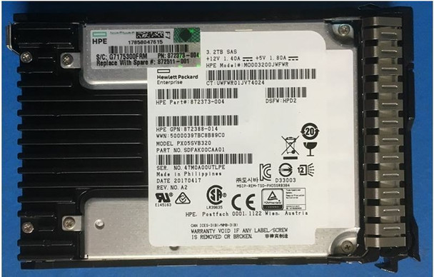 HPE 872386-K21 3.2TB 2.5inch SFF MLC Digitally Signed Firmware SAS-12Gbps SC Mixed Use Solid State Drive for ProLiant Gen9 Gen10 Servers (New Bulk Pack with 1 Year Warranty)