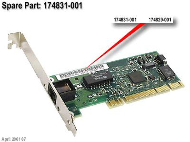 HPE NC3123 174831-001 100-Mbps PCI Fast Ethernet 10/100 Ethernet 10Base-T 100Base-TX Wired Network Adapter (90 Days Warranty)
