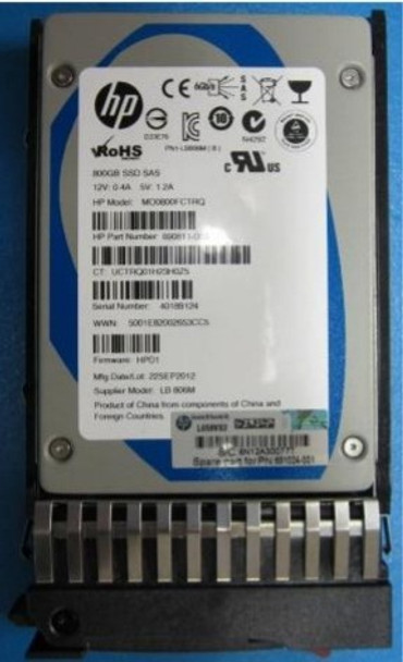 HPE 691024-001 800GB 2.5inch SFF SAS-6Gbps Standard Carrier Enterprise Mainstream Solid State Drive for ProLiant Gen2 to Gen7 Servers (New Bulk Pack with 1 Year Warranty)